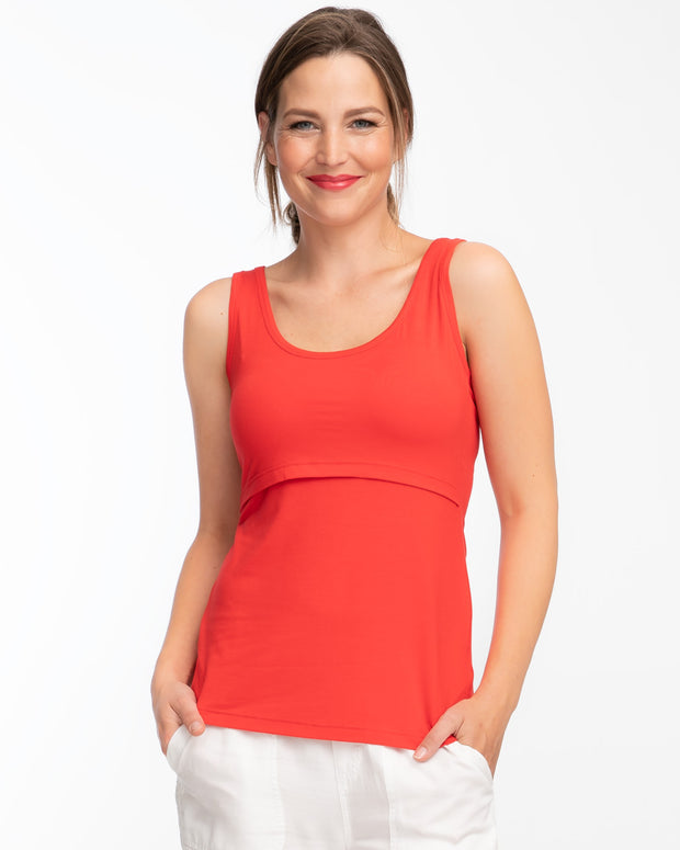 Candy red nursing tank top by Peachymama - 1
