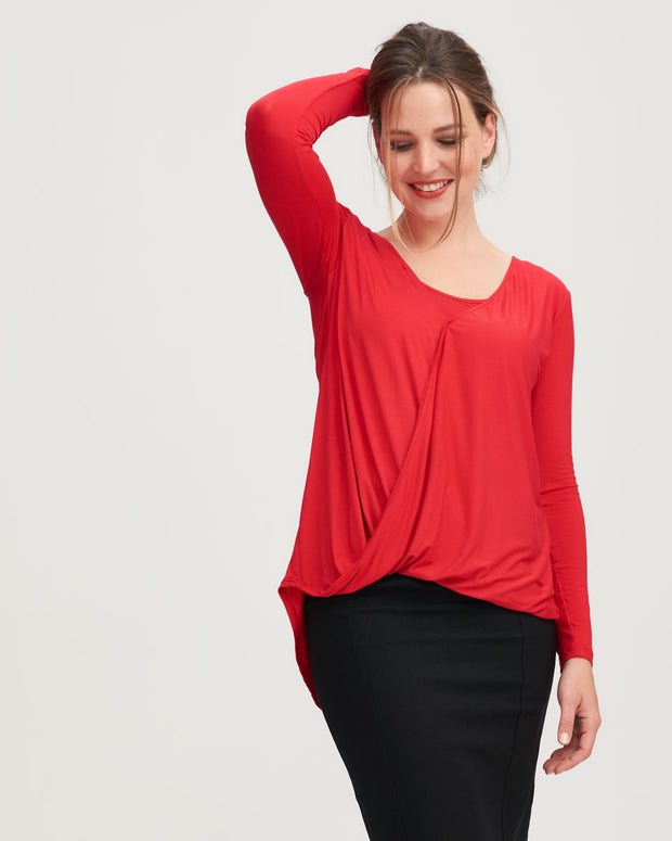 Nursing top in red twist front style by Peachymama 2