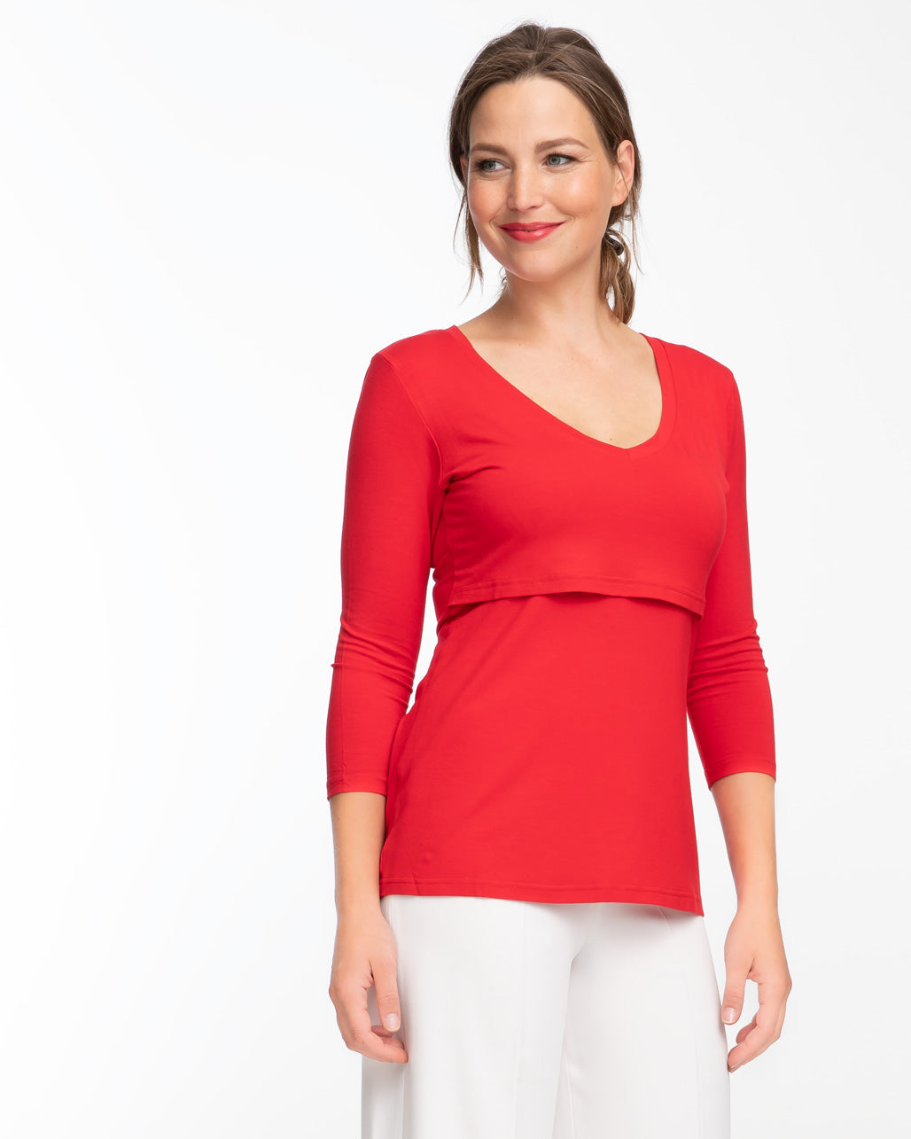 Red v-neck style nursing top by Peachymama 1