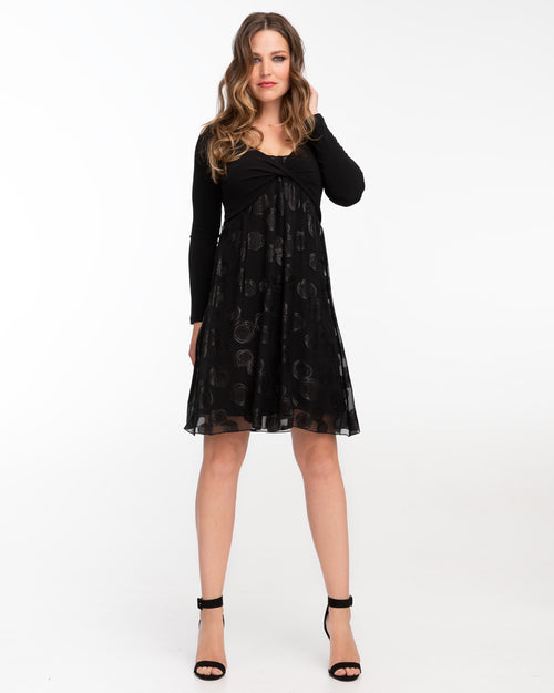Black silk nursing dress with twist front by Peachymama