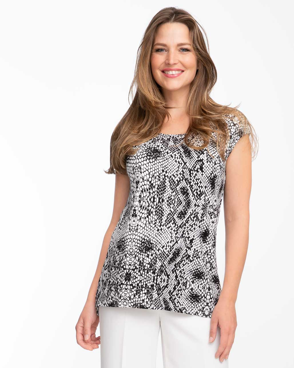 Snake print short sleeve nursing top by Peachymama