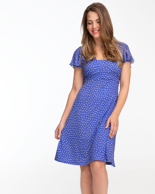 Cornflower blue Va Va Voom nursing dress by Peachymama - Denisa 1