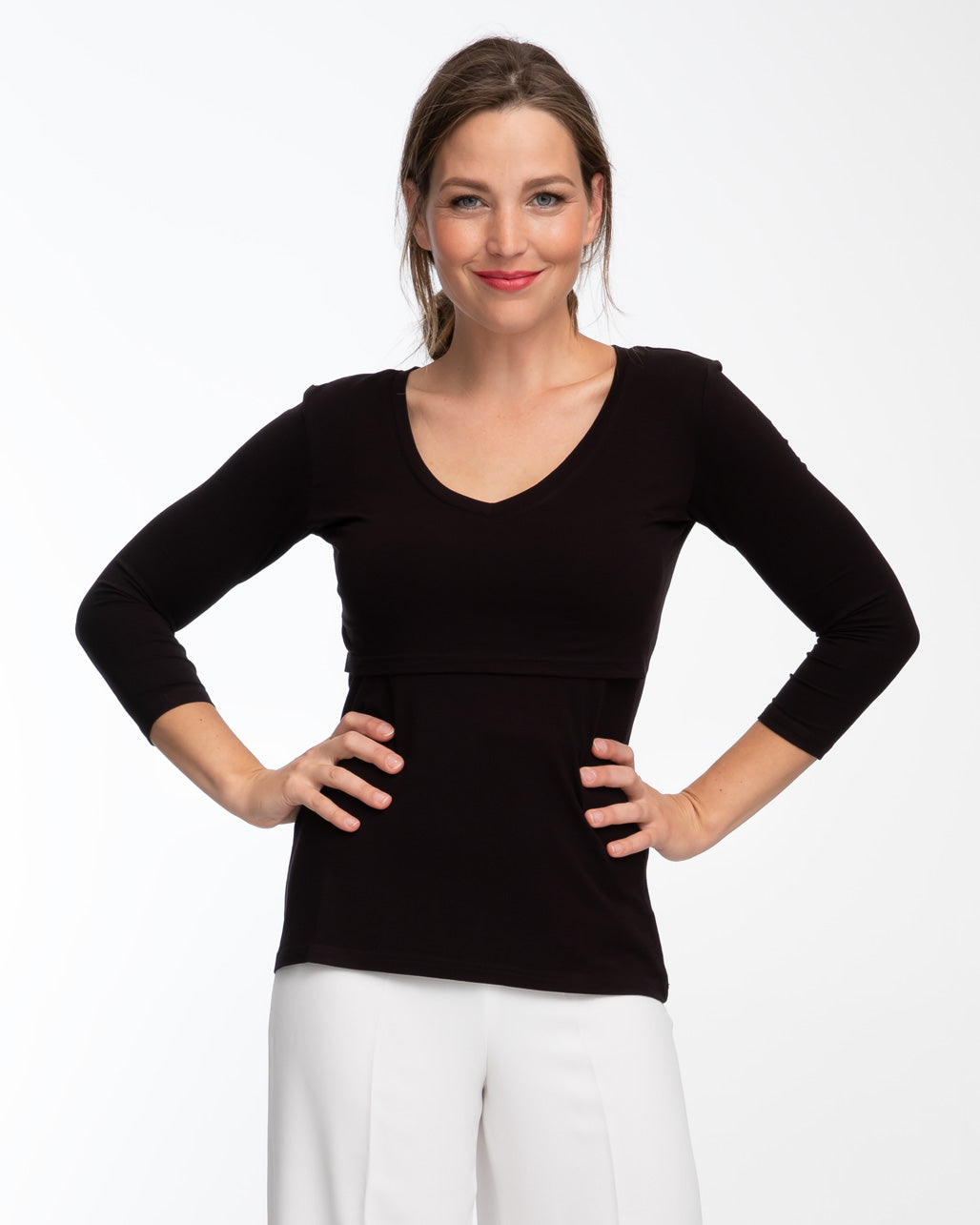 fa7b634a70488 Black v-neck bamboo nursing top with 3/4 sleeves by Peachymama 1