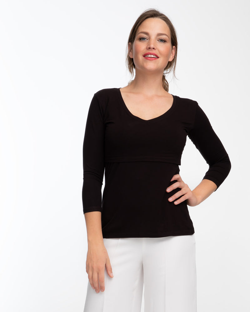 Black v-neck bamboo nursing top with 3/4 sleeves by Peachymama 1