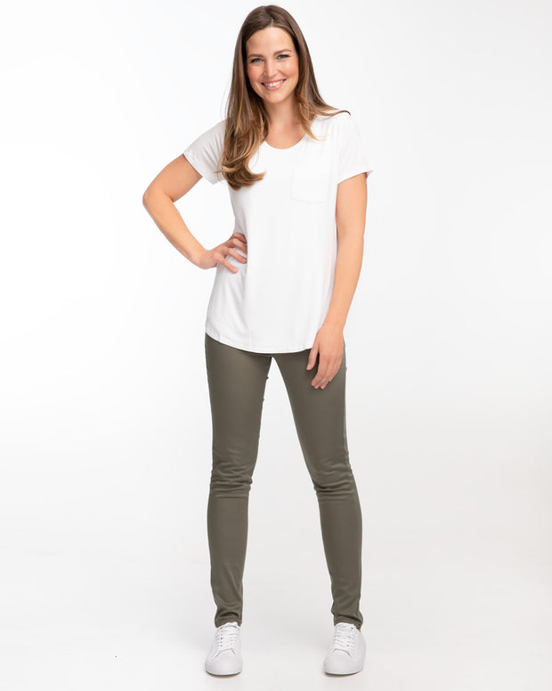 High Waisted Post Maternity Khaki Jeans