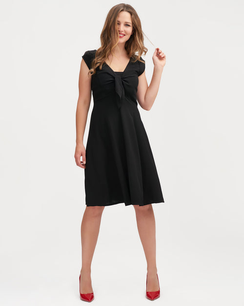 Black breastfeeding dress with tie front by Peachymama