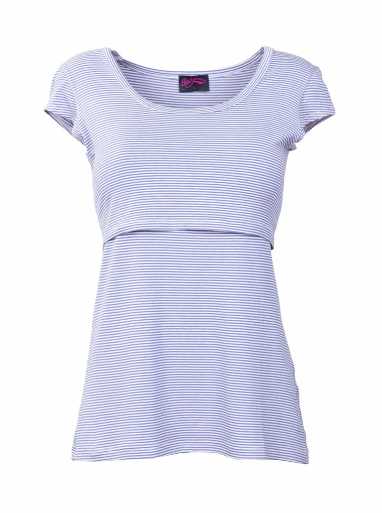 Blue and White stripe cap sleeve nursing top