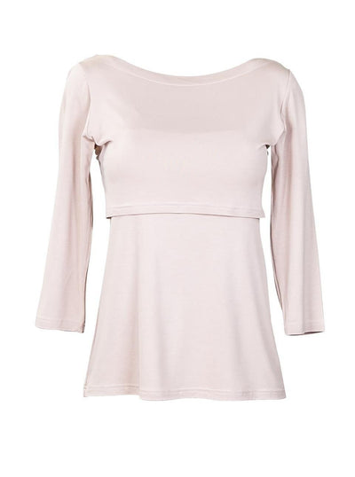 Classic Beige Boat Neck Style Nursing Top - Front