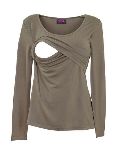 Khaki bamboo breastfeeding top with long sleeves - detail
