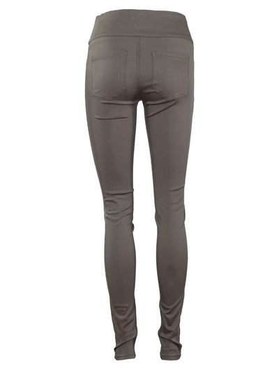 Khaki High Waisted Stretch Jeans - Postpartum Pants - Back