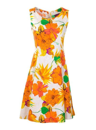 Breastfeeding Dress - Orange Floral Pinafore - Front
