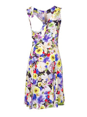 Breastfeeding Dress - Purple Floral Pinafore - Open