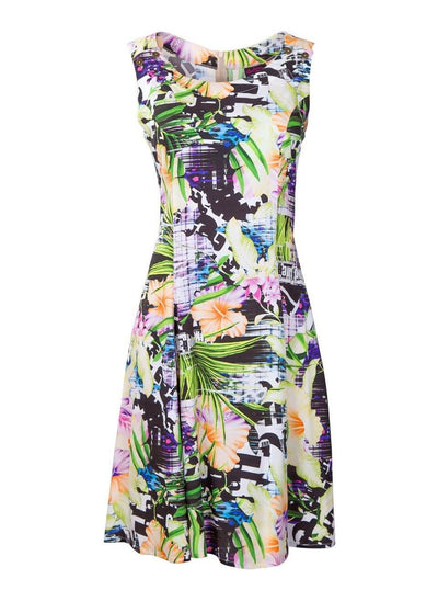 Purple Tropical Print Pinafore Style Breastfeeding Dress