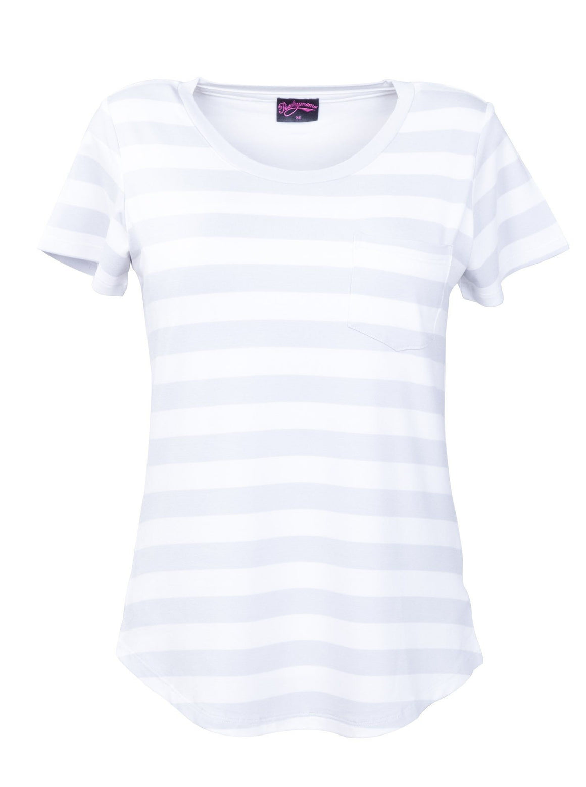 Breastfeeding T Shirt in Grey and White Stripe