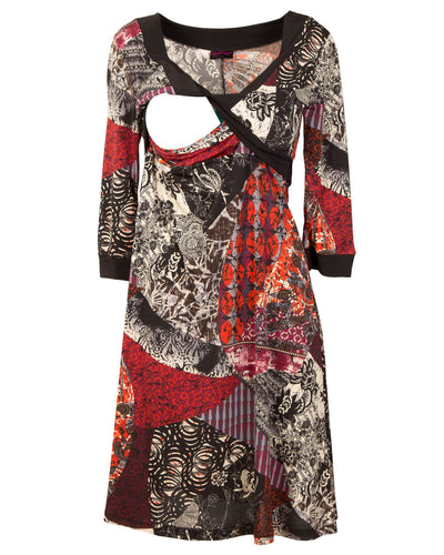 Nursing Dress for Weddings and Special Occasions - Crimson Print