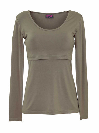 Khaki bamboo breastfeeding top with long sleeves - front