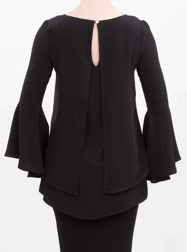 Black frilled sleeve breastfeeding top - back - modelled