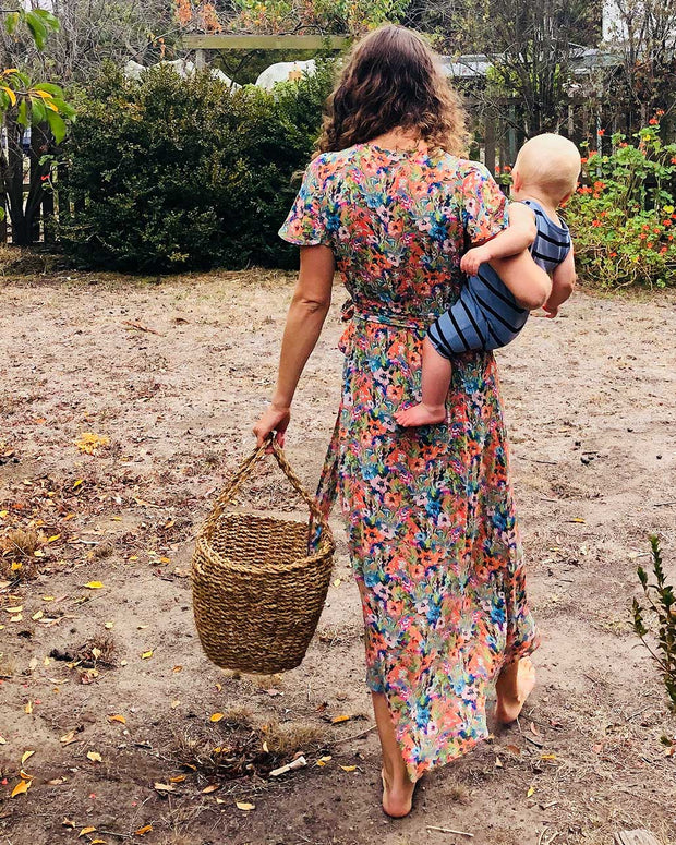 Peach Floral Nursing Dress by Peachymama - with baby 1