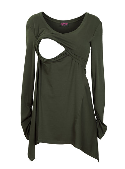 Deep Khaki Gypsy Breastfeeding Top - Detail