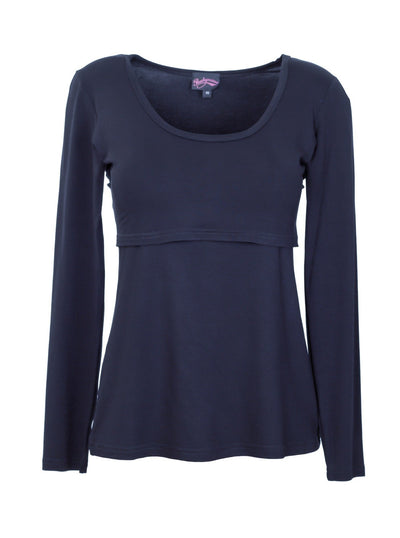Blue Ink Long Sleeve Breastfeeding Top