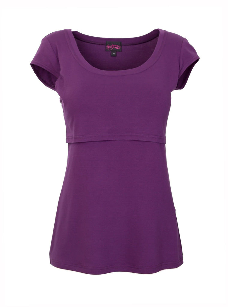 Peachymama Purple Cap Sleeve Breastfeeding Top