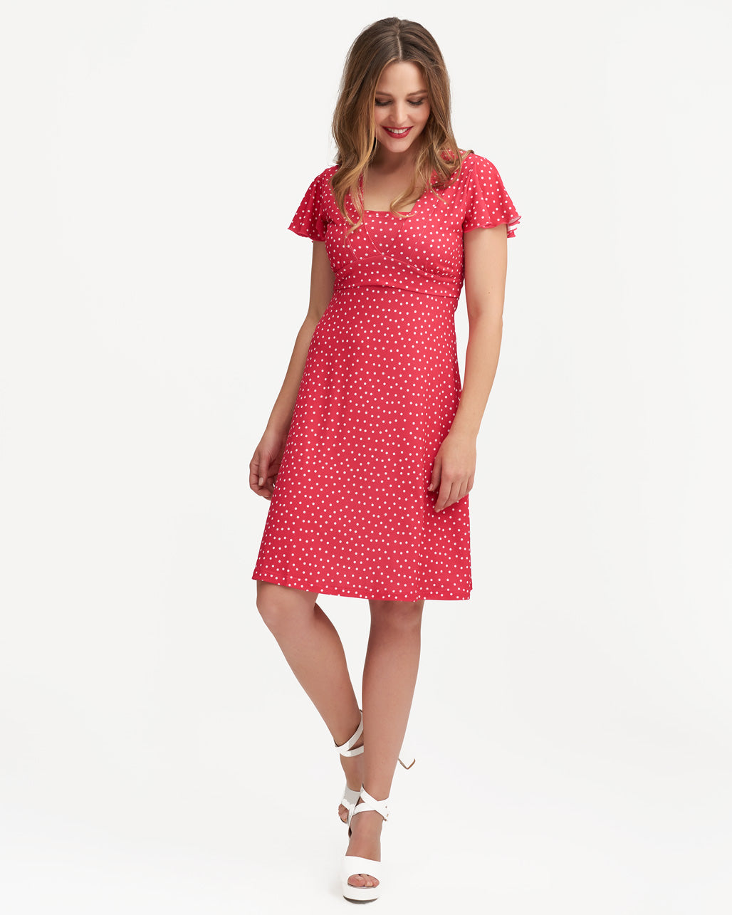 5138792e21c Raspberry Polkadot Va Va Voom Nursing Dress | Peachymama Australia
