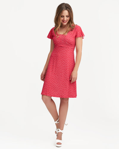 Bright raspberry polkadot breastfeeding dress by Peachymama