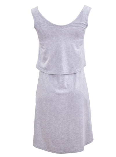 Breastfeeding singlet dress - grey - back