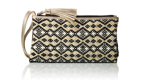 Catrinka Maria Elena clutch black white gold