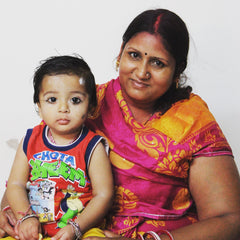Kanta embroiderer and her son in Jodhpur Rajasthan