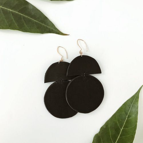 Duomo Leather Earring (Black)