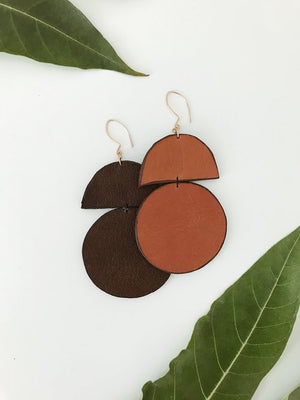 Duomo Leather Earring (Tan)
