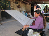 Angelica weaving wool in Chiapas