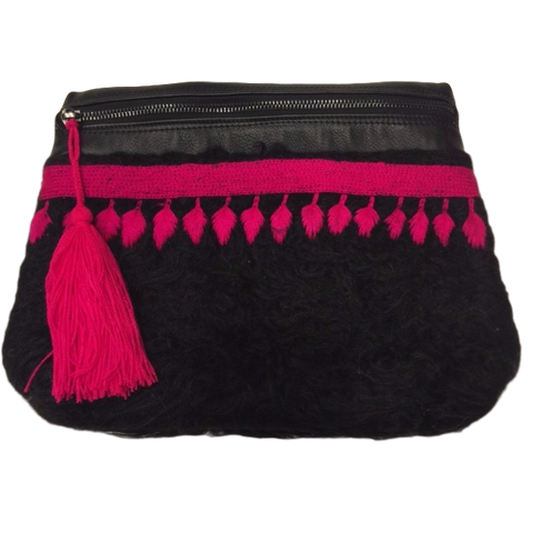 Angelica Chamula Wool Crossbody / Clutch (black with embroidery)