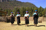 Tzotzil women in Chiapas wearing Chamula wool skirts