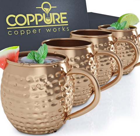 CopPure Moscow Mule Copper Mugs Pure 100% Solid Unlined Cups Set of 4