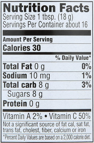 Crofters Super Fruit Spread Nutrition Facts