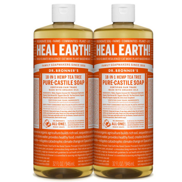 Dr Bronner's All One Hemp Tea Tree Pure Castile Soap with Organic Oils 32 oz (2 pack)