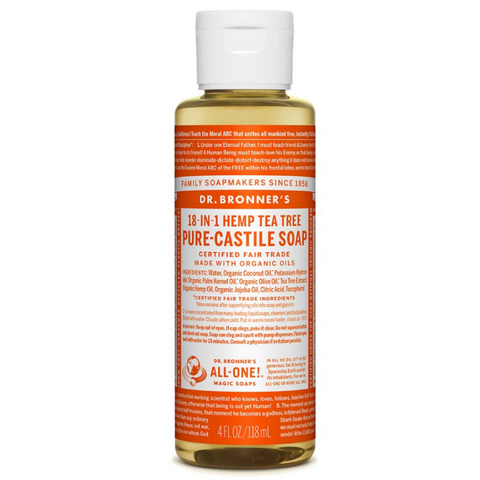 Dr Bronner's All One Hemp Tea Tree Pure Castile Soap with Organic Oils - 4oz