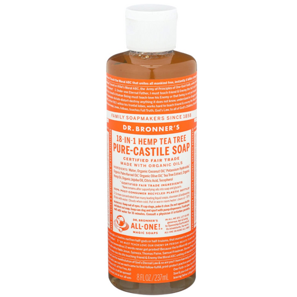 Dr Bronner's All One Hemp Tea Tree Pure Castile Soap with Organic Oils - 8oz