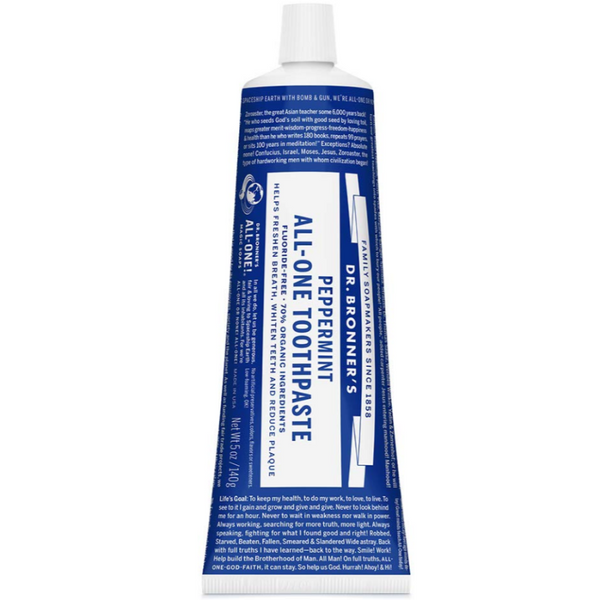 Dr Bronner's Peppermint Toothpaste, Natural, Effective, Fluoride-Free