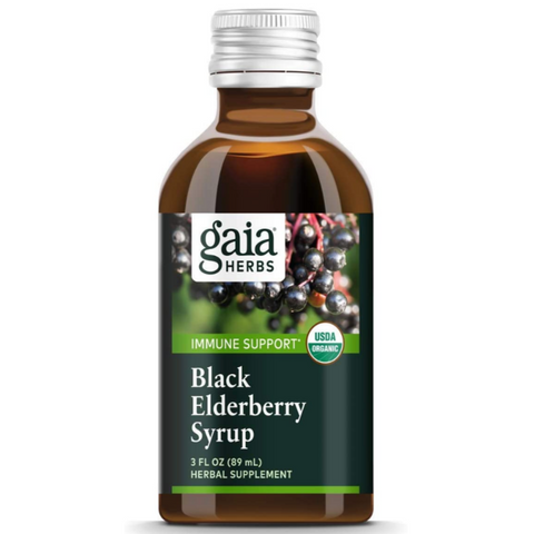 Gaia Herbs Black Elderberry Syrup Organic Sambucus Antioxidant Immune Support Supplement 3 oz