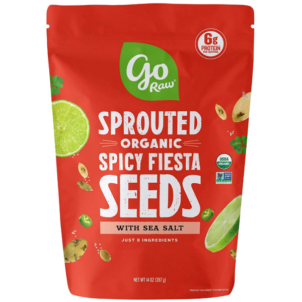 Go Raw Sprouted Organic Seeds Vegan Keto Gluten-Free Superfood Snacks - Spicy Fiesta