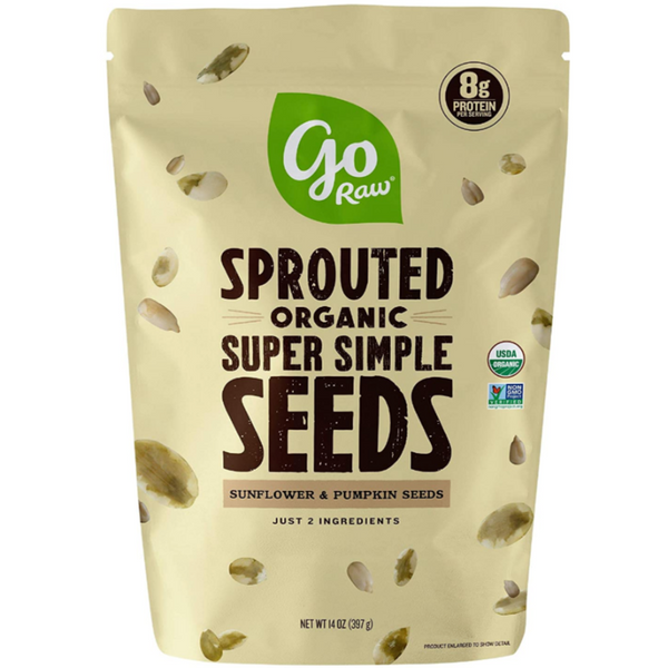 Go Raw Sprouted Organic Seeds Vegan Keto Gluten-Free Superfood Snacks - Unsalted Mix