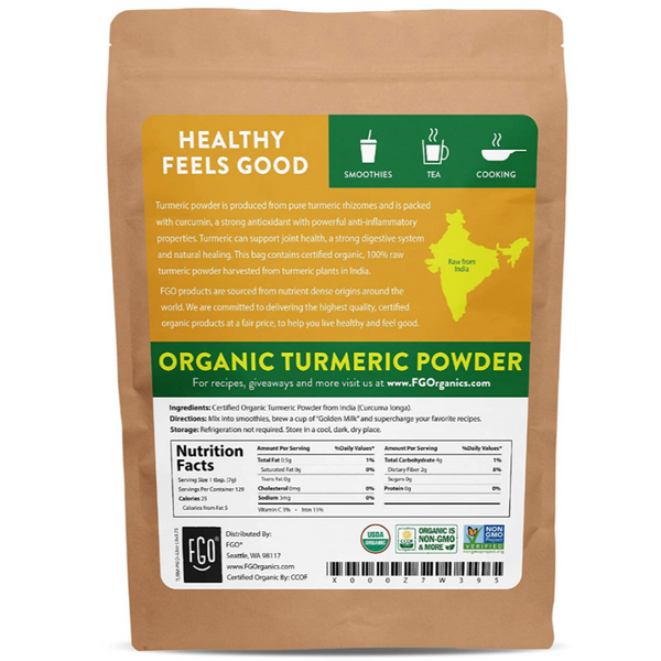 Organic Raw Turmeric Root Powder with Curcumin - Lab Tested for Purity