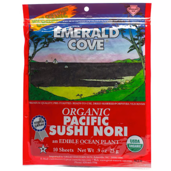 Emerald Cove Nori Sushi Sea Vegetable Rolls or Wraps (6x10Sheets)