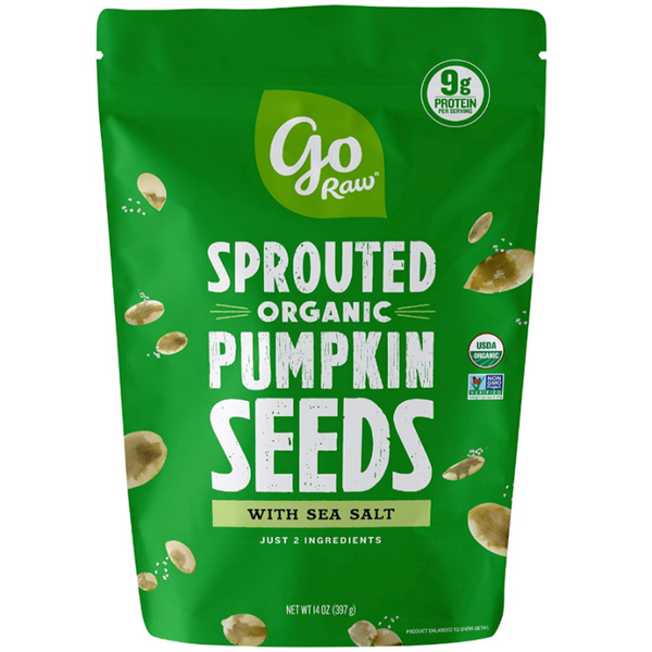Go Raw Sprouted Organic Seeds Vegan Keto Gluten-Free Superfood Snacks - Pumpkin