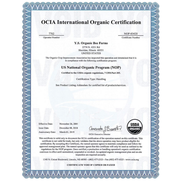 YS Bee Farms Organic Certificate
