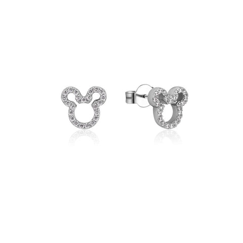 Mickey Mouse Precious Metal Crystal Outline Stud Earrings