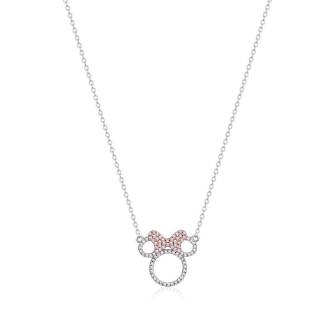 Minnie Mouse Precious Metal Crystal Outline Necklace